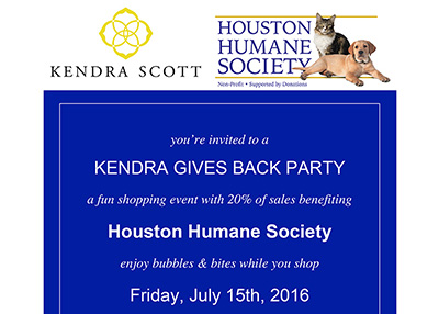 Houston Humane Society - Kendra Gives Back